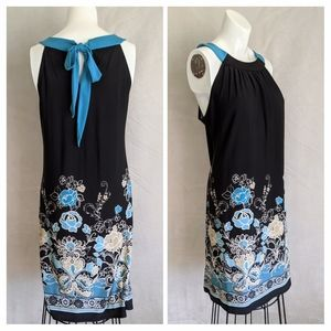 Blue flowers shift dress with ties